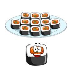 Set of cartoon sushi cons vector