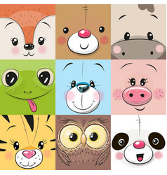 set of cute animals faces vector image