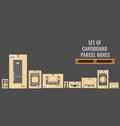 set of different cardboard boxes with different vector image
