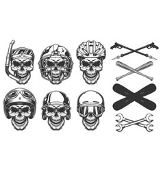 set of skull in sport equipment vector image
