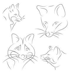 Set of stylized foxes faces hand drawn linear vector