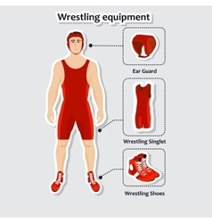 Set of wrestling equipment with man Singlet vector