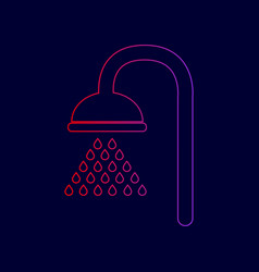 shower sign line icon with gradient from vector image