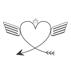 Silhouette with two wings heart and crown vector