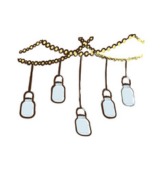 Sketch glass jar hanging decoration vector