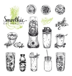 Smoothie set Healthy foods vector image