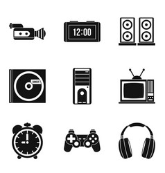 Soundtrack icons set simple style vector