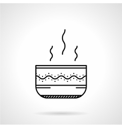 Soup bowl black line icon vector image