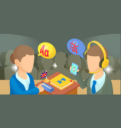 Translator horizontal banner cartoon style vector