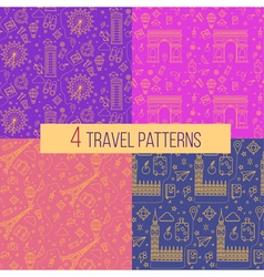Travel Seamless Patterns Set vector image