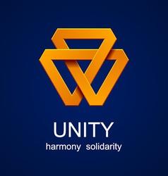 unity triangle orange icon vector image