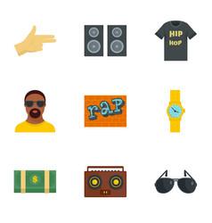 Urban rap icon set flat style vector