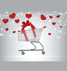 valentines shopping cart vector image