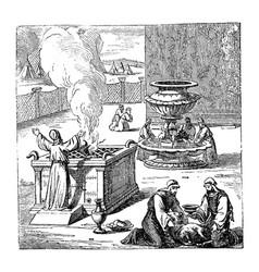 Vintage drawing biblical israelites offering vector