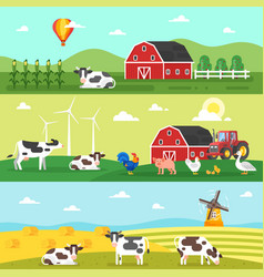 Web banner farm farmers farm animals vector