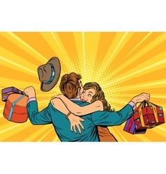 Wife hugs her husband with gifts vector