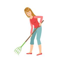 woman with rake gardening cartoon adult vector image