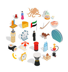world food icons set isometric style vector image