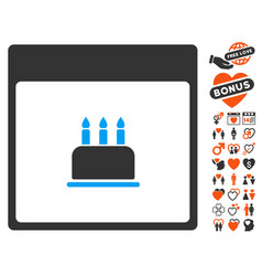Birthday cake calendar page icon with lovely bonus vector