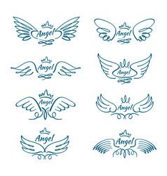 elegant angel flying wings hand drawn wing tattoo vector image