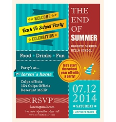End of summer party poster or card design template vector image vector image