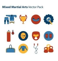 Mix martial arts icons set vector