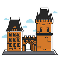 prague castle czech travel tourist attractions and vector image vector image