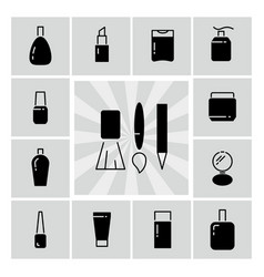 black line and silhouettes cosmetics icons vector image vector image
