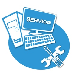 Computer service label vector image