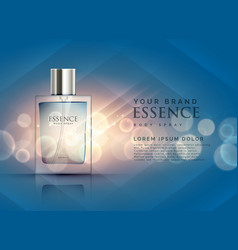 essence perfume ads concept with transparent vector image