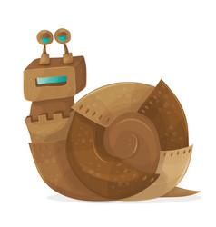 snail robot cartoon vector image