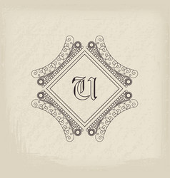 vintage monogram vector image vector image