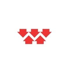 Five red converging arrows logo mockup converge vector image vector image