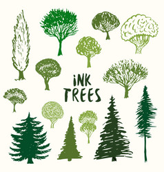 green trees silhouette collection hand drawn vector image vector image