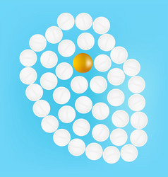 human heart with pills isolated on a background vector image