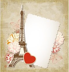 Paper frame and Eiffel tower vector image vector image