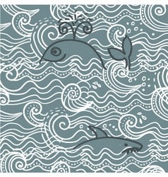 whale screen print vector image