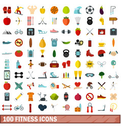 100 fitness icons set flat style vector image