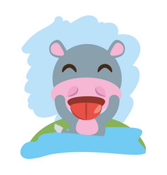 cute hippopotamus animal winking vector image