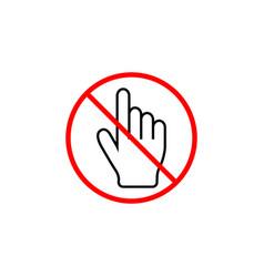 No hand cursor line icon prohibition sign vector