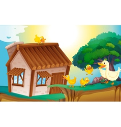 wooden house and ducks vector image