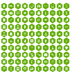 100 anatomy icons hexagon green vector