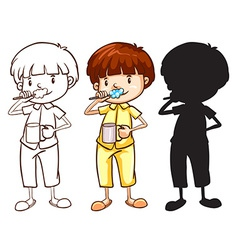 A sketch of a boy toothbrushing in different vector image