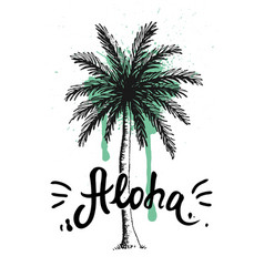 Aloha hand lettering with palm tree vector