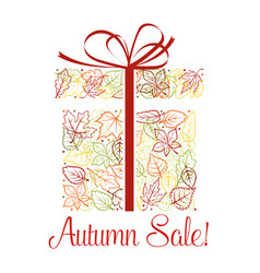 autumn sale discount offer poster with fallen leaf vector image
