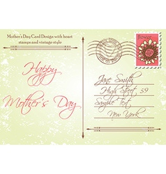 Back of Mothers Day Card in a Vintage Style vector image