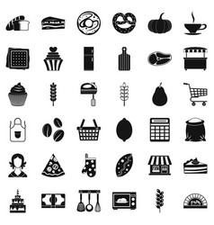 Bakery cooking icons set simple style vector