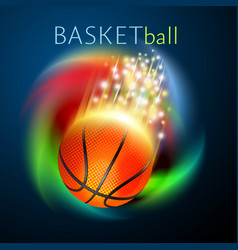 Basketball sport ball flying over rainbow vector