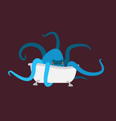 bath and octopus bathtub and monster vector image