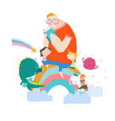 big father reading book for his children vector image
